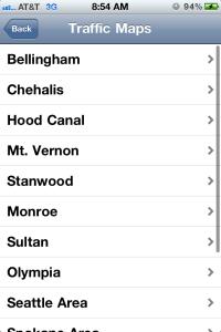 WSDOT Traffic Maps Screen